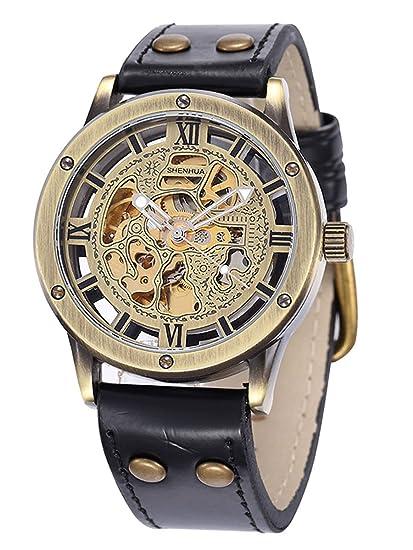 Alienwork Retro Reloj Mecánico Automático Relojes Automáticos Hombre Mujer Piel sintética Negro Analógicos Unisex Bronce marrón Impermeable: Amazon.es: ...