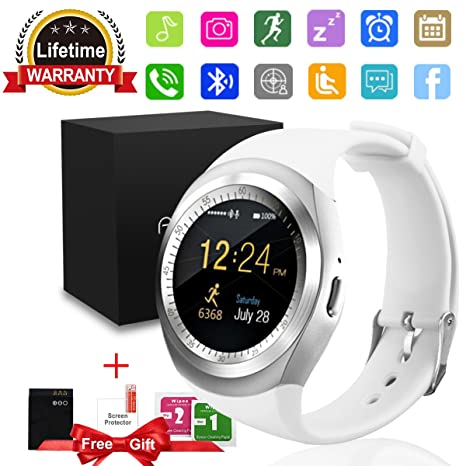 Smartwatch, Impermeable Reloj inteligente Redondo con Sim Tarjeta Camara Whatsapp, Bluetooth Tactil Telefono Smart Watch Sport Fitness Tracker ...