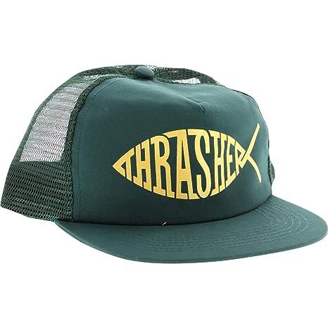 0f133d6194d8 Amazon.com  Thrasher Magazine Fish Green   Gold Mesh Trucker Hat ...