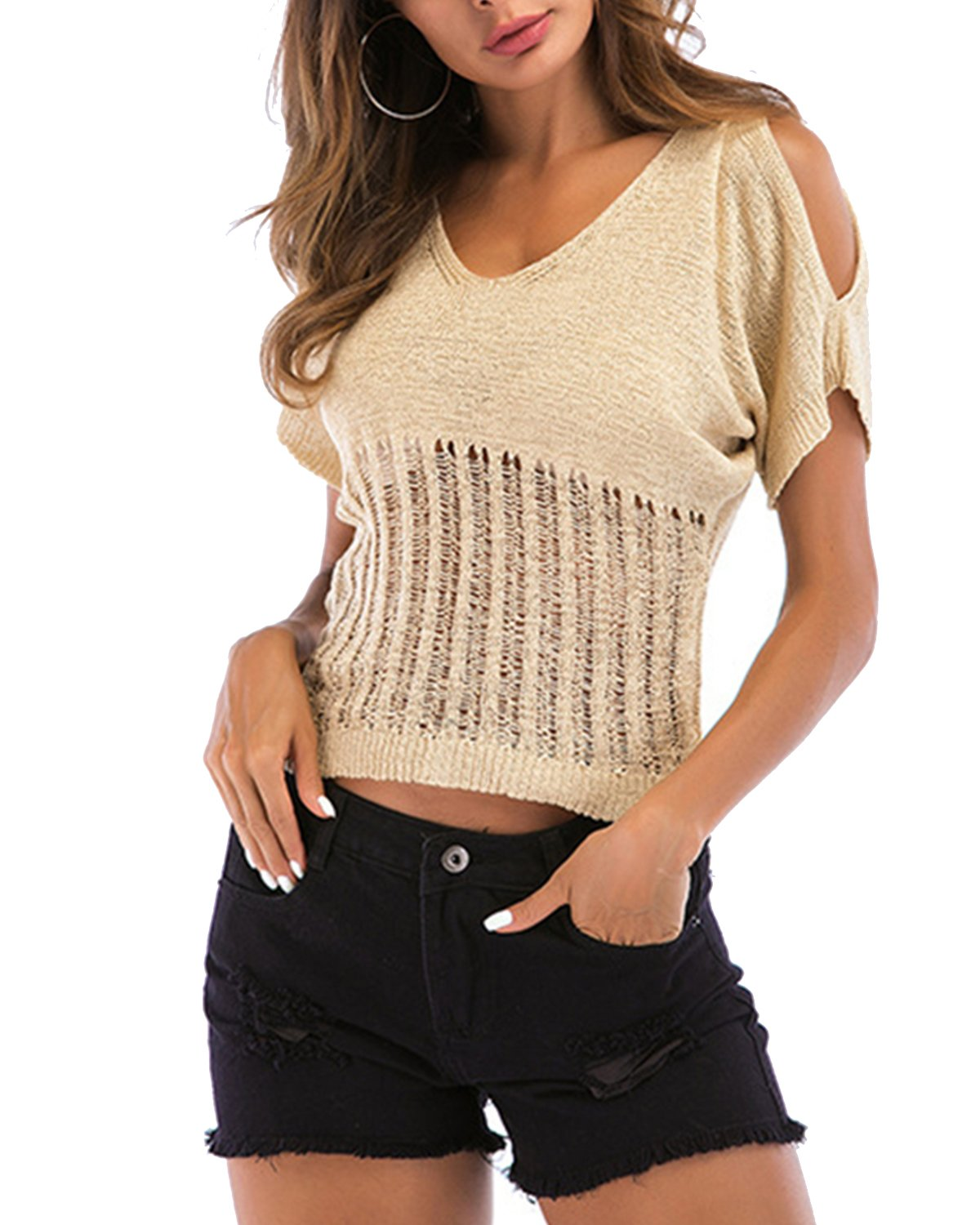 ZAFUL Women Short Sleeve Casual Crop Top Knitted Sweater Pullover Tops T-Shirt Blouse