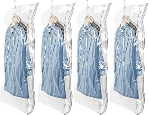 LEVERLOC Space Saver Bags, Hanging Vacuum Storage Seal Clear Bags Garment Cover, Durable & Reusable Ideal for Clothes, Suits, Coats, Jackets, Dresses, Trousers, Closet Organizer