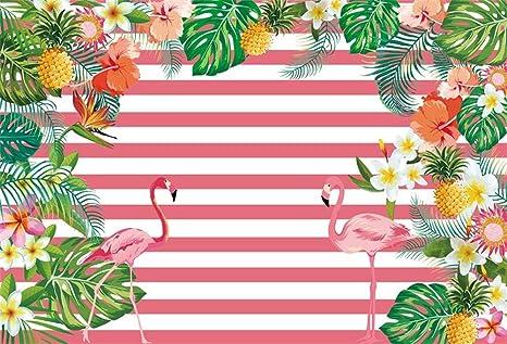 Goeoo 9x6ft Tropical Leaves Flamingo Photo Backdrop Summer