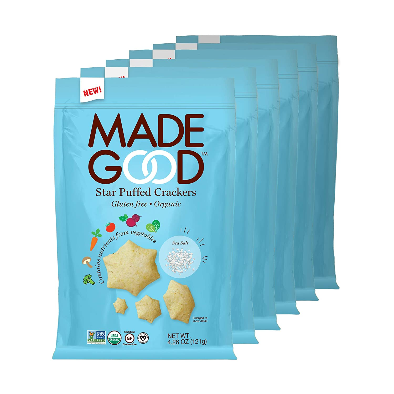 MadeGood Sea Salt Star Puffed Crackers, Gluten Free and USDA Organic 6 Bags (4.26 oz Each); Contain Nutrients of One Full Serving of Vegetables, Nut and Allergen Free Snacks