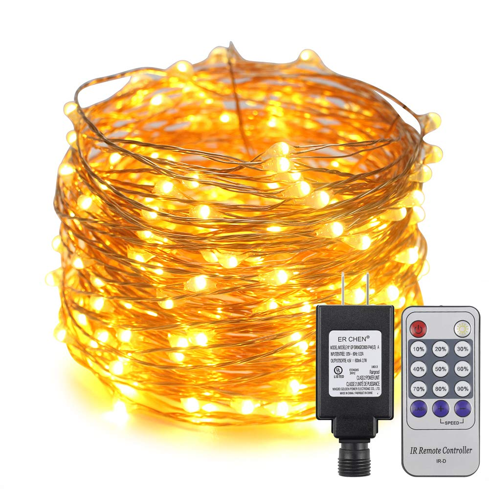 White Remote Control ER CHEN 33ft Led String Lights,100 Led Starry Lights on 10M Copper Wire String Lights Power Adapter