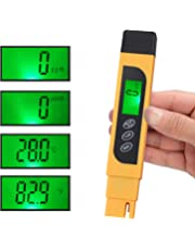 CAMWAY Digital TDS Tester Pen Portable Water Quality TDS EC Temperature Purity Meter Temp PPM Test Filter Kit 0-9990 ppm 4 Display Modes ppm, Μs/cm, °F, °C -Easy to See