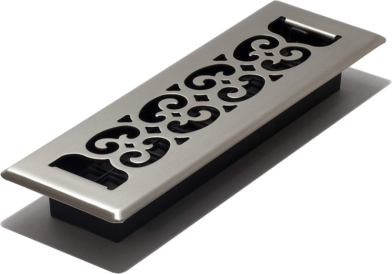 Decor Grates SPH210-NKL 2 10-Inch Scroll Floor Register, Brushed Nickel Finish