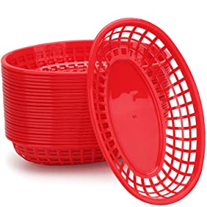 "Set of 24 Food Serving Baskets, Eusoar 9.4"" x 5.9"" Reusable Oval Fast Food Baskets, Microwave& Dishwasher Safe Food Grade Plastic Food Service Tray for Party Picnic BBQ Burger Fries Sandwiches"