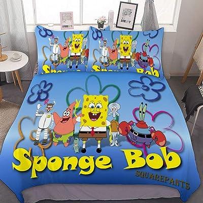 "SfeatrutMAT Bedding Duvet Cover 2 Piece Set,Spongebob Squarepants,(680),Kids Girls Boys Cartoon Bed Set,Twin 55""x79"": Kitchen & Dining"