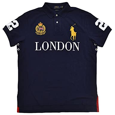 Polo Ralph Lauren Mens Big Pony City Custom Mesh Polo (French Navy London,  Small