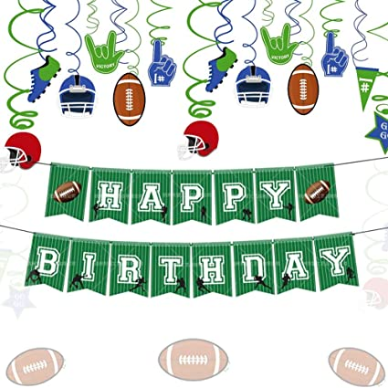 Amazon Com Laventy Set Of 2 Football Party Decoration Football Birthday Banner Football Flag Banner Sports Party Decorations Football Party Supplies Toys Games