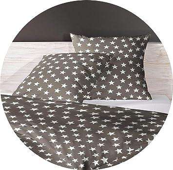 06a946d36a MISTRAL Home Stars Flanell Bettwäsche Stern Sterne Braun/Grau Weiß Baumwolle,  Größe:135x200cm Bettwäsche: Amazon.de: Küche & Haushalt