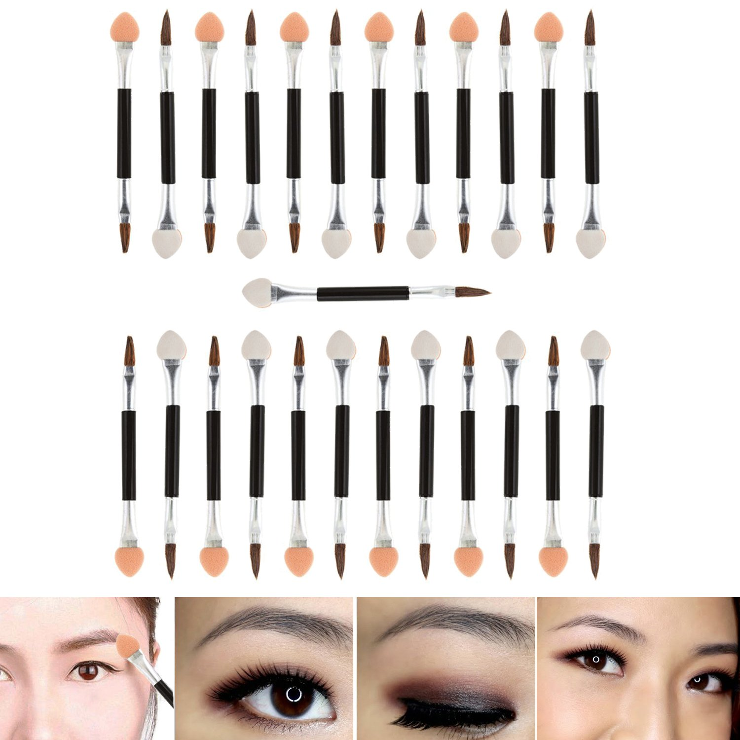 Professional Make Up Artists Set With 25pcs Long Disposable Double Ended Eyeshadows Applicators With Smudge Sponges And Eyes Brushes Makeup Tools By VAGA