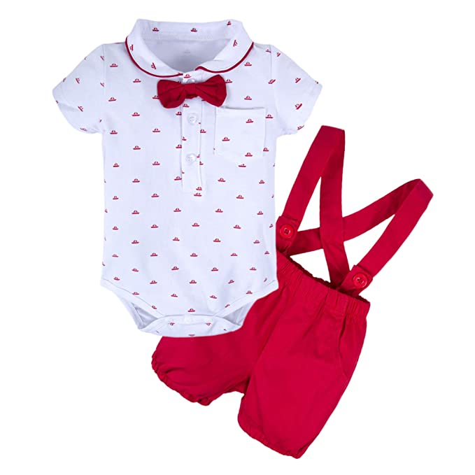 100623848c5 BIG ELEPHANT Baby Boys 2 Pieces Short Sleeve Romper Suspender Shorts Set  T49-Red-