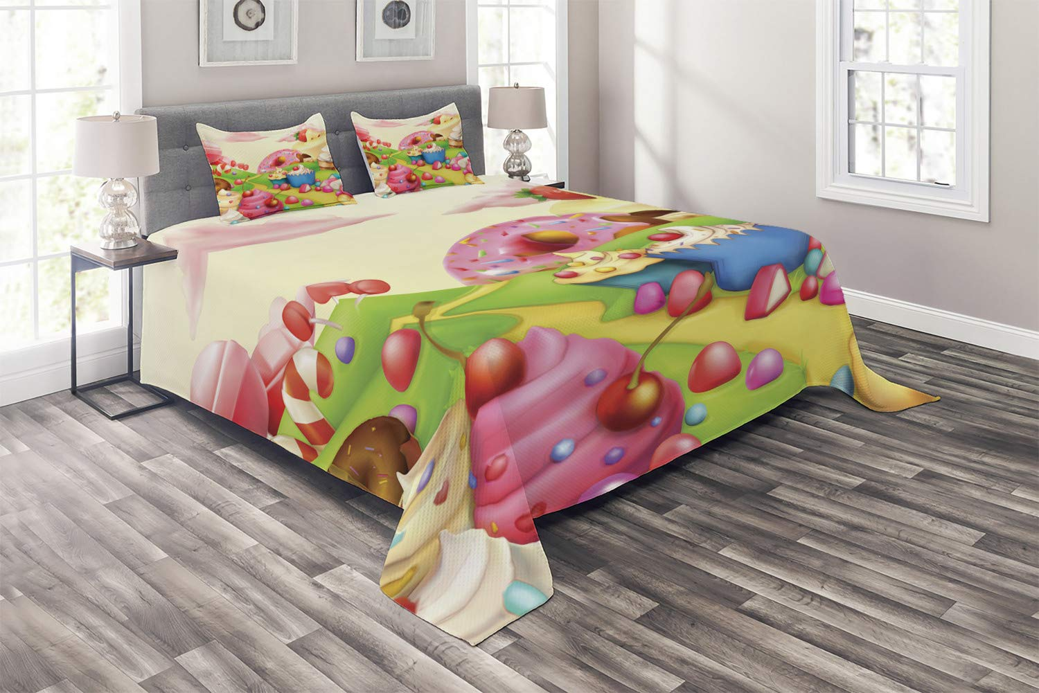Ambesonne Modern Coverlet, Yummy Donuts Land Cupcakes Ice Cream Cotton Candy Clouds Kids Nursery Design, 3 Piece Decorative Quilted Bedspread Set with 2 Pillow Shams, Queen Size, Yellow Pink by Ambesonne
