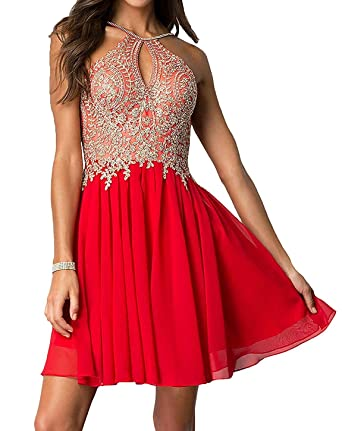 Ladsen Halter Neck V Back Prom Dresses Beaded Appliques Chiffon Evening Gowns L162 Red Short US4