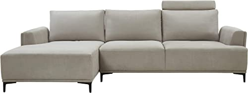 Modern Sectional Lucca Sectional Sofa with Push Back Functional, Left Facing Beige Color