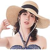 Sun Women Straw Hat UPF 50+ Beach Finshing Hats for Women Bucket Hat with Neck Cord