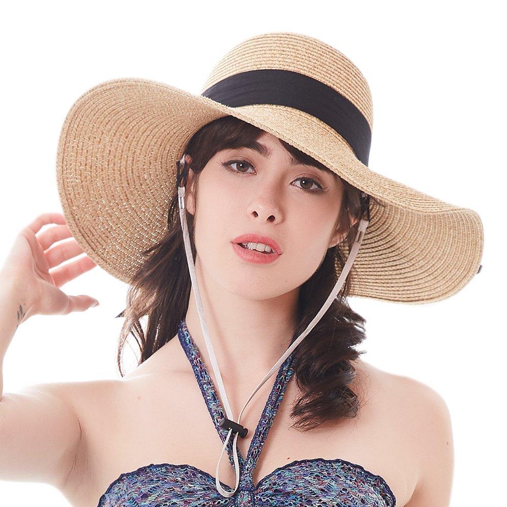 Women Sun Straw Hat Wide Brim UPF 50+ Beach Hats for Women Summer Bucket Hat Foldable by FURTALK