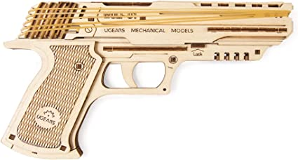 UGears Wolf-01 Handgun with Rubber Band | STEM Learning 3D Educational Wooden Puzzles | DIY Kits for Kids | Mechanical Educational Kit and STEM Projects for Kids| Mind Games and Gun Toys for Kids