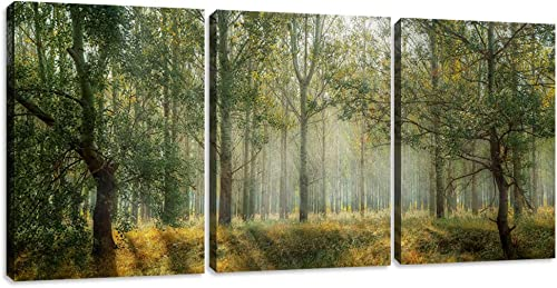 Yetaryy Forest Canvas Wall Art Decor 3 Panel Green Tree Picture Print Poster Decorative Painting Wall Art