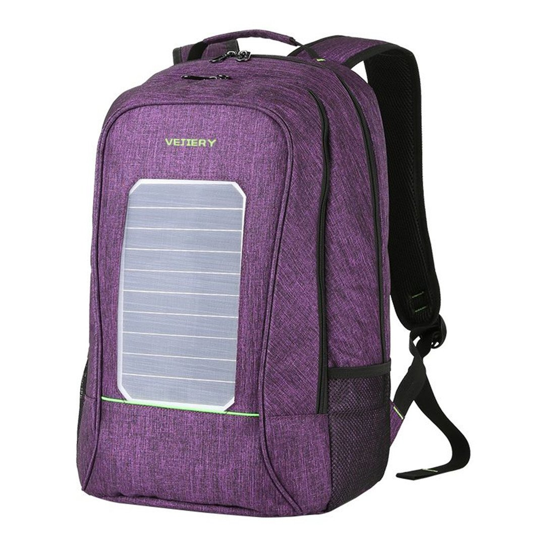 Multifunction Solar Energy Men Backpack Waterproof 15.6 Inch Laptop USB Charging Backpack Leisure Travel Bag Purple