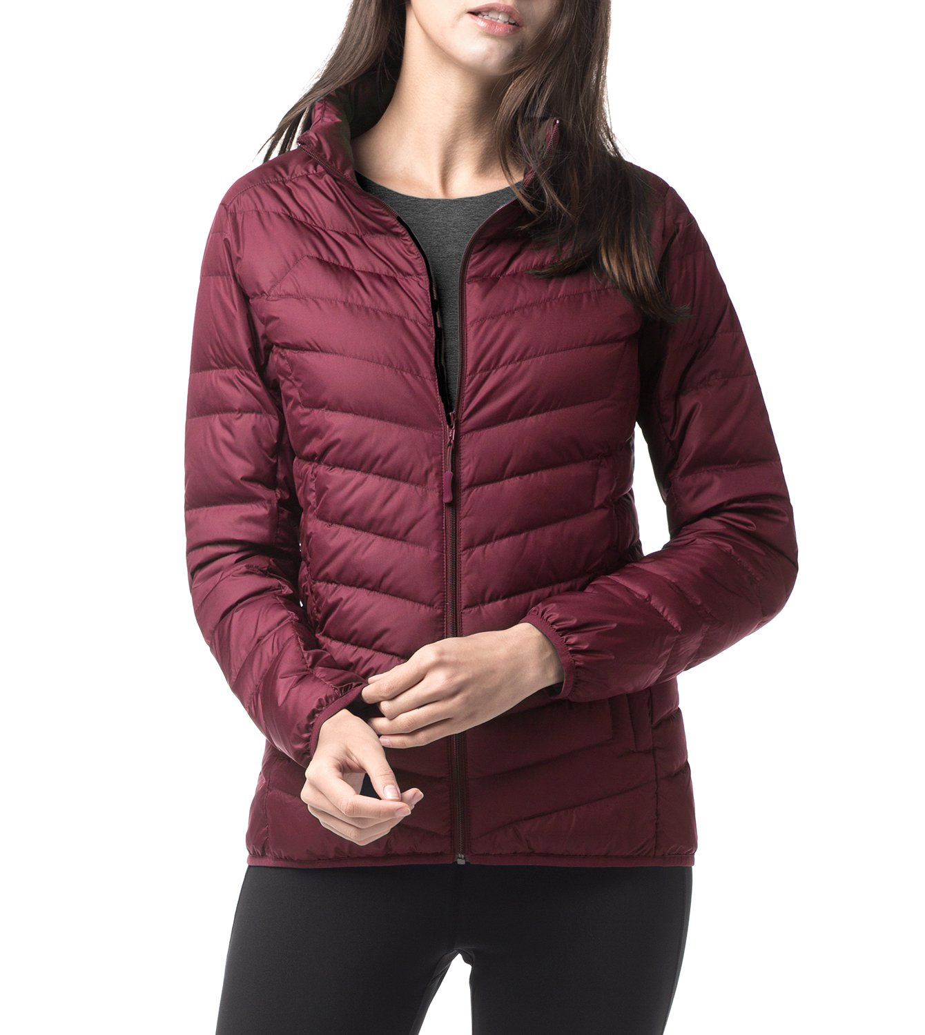 LAPASA Women's Water-Repellant Down Jacket (550 Feathers), Zipper + Interior Pockets, Lighteweight, Packable, Slim-Fit L18