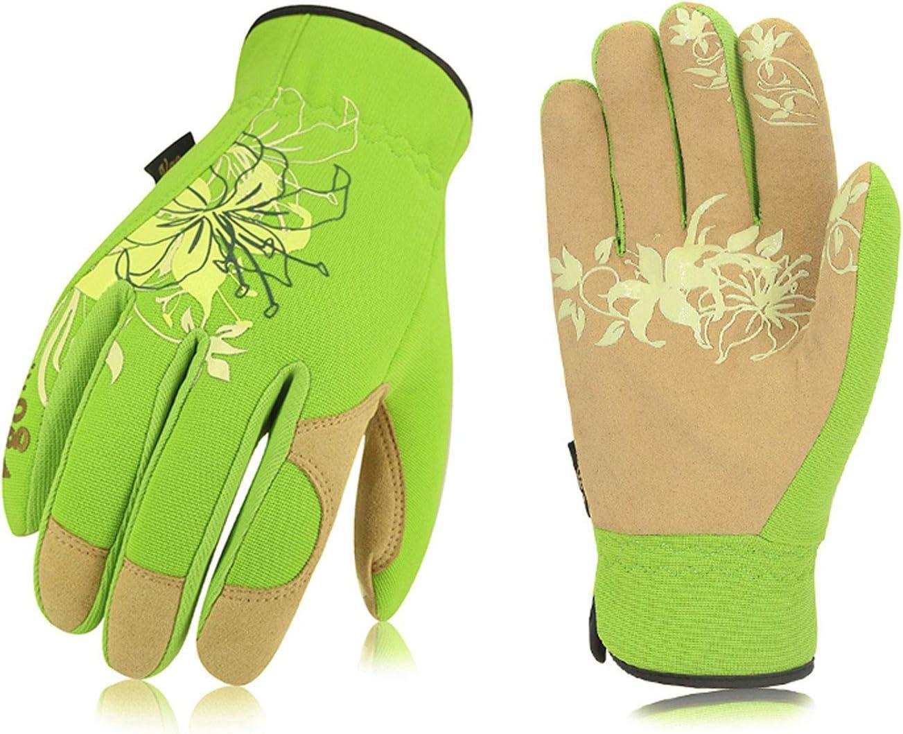 Vgo 1-Pair Ladies Washable Leather Garden Gloves, Work Gloves (Size M, Green, SL7443)