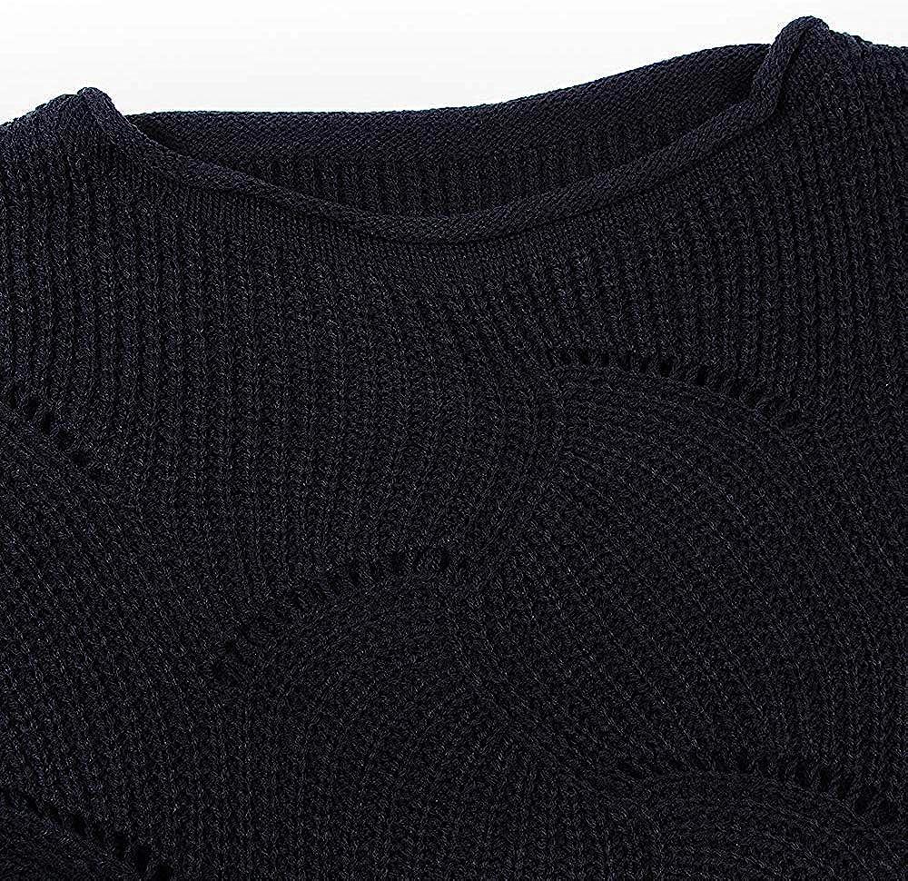 Cogild Womens Knit Sweater Batwing Sleeve Crew Neck Irregular Hem Hollow Casual Loose Pullover Jumper Tops