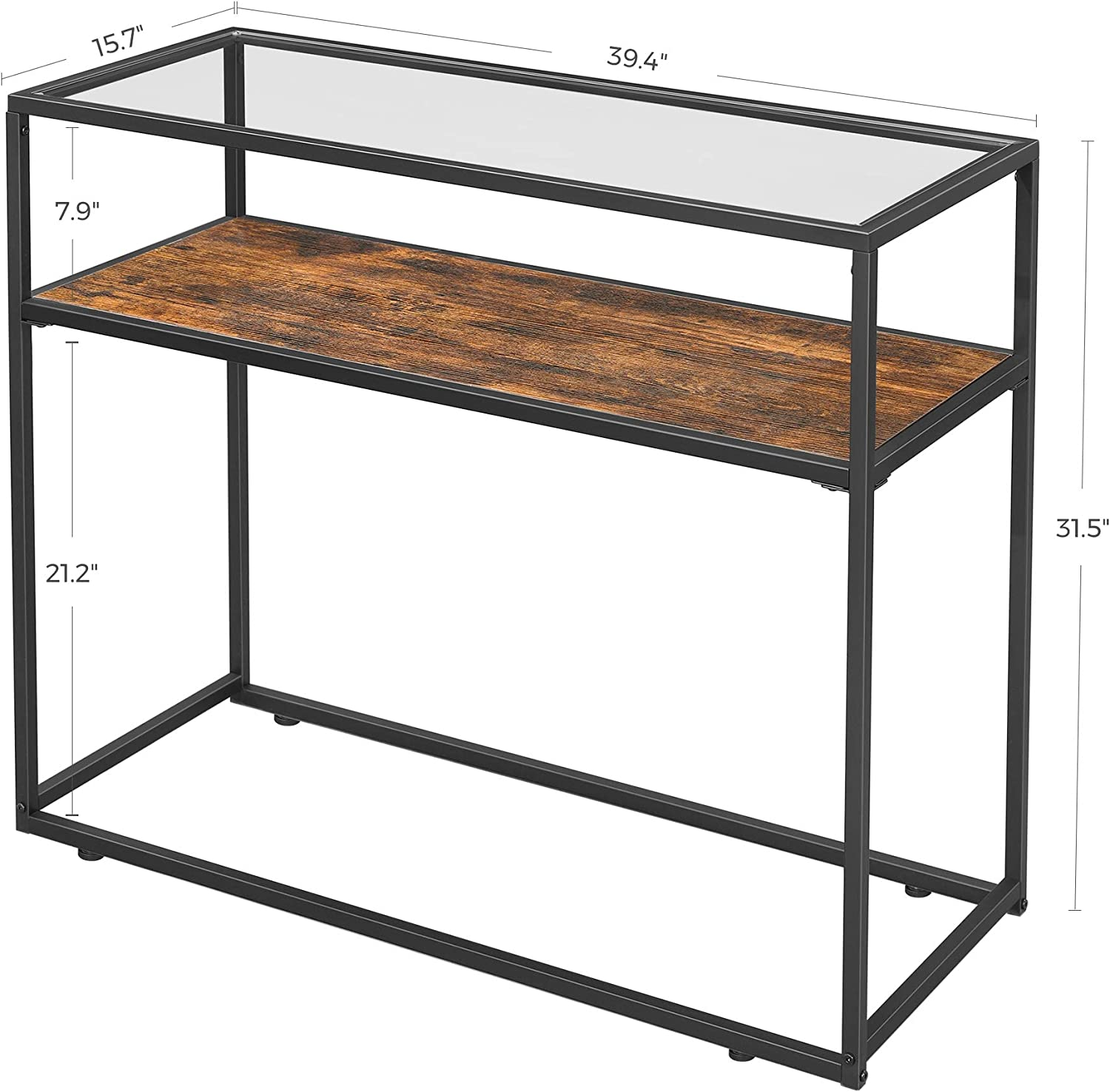 Rustic Brown and Black ULNT10BX Industrial Easy Assembly Tempered Glass Top and Sturdy Steel Frame for Living Room Hallway Entrance VASAGLE GLATAL Console Table