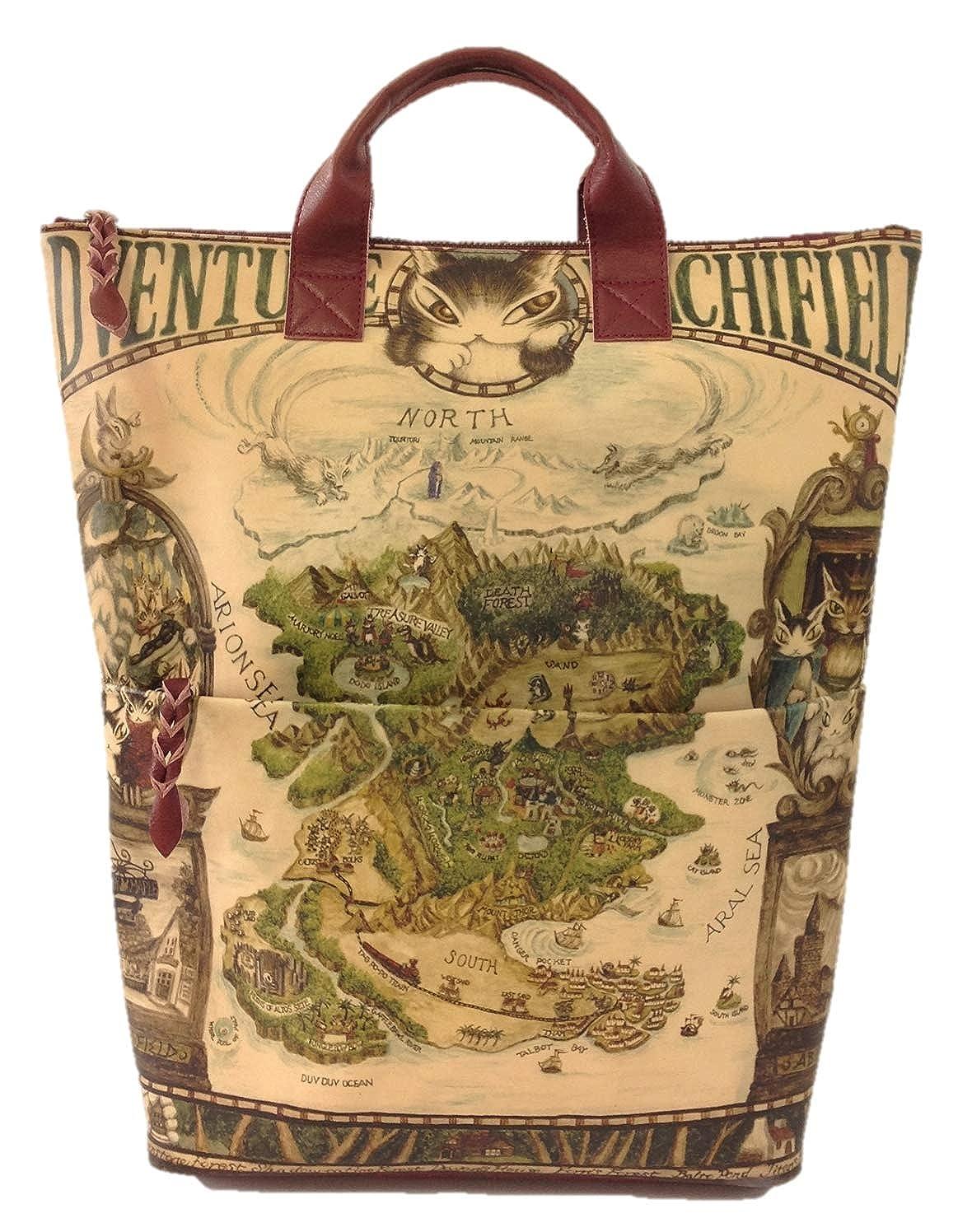 WACHIFIELD [わちふぃーるど] ダヤン 本革 レザーアート リュック 羊皮紙の地図ワイン B07PV6RVGP