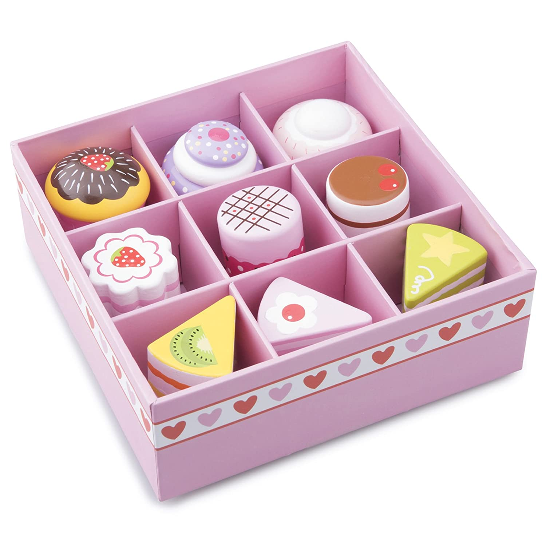 Unbekannt Kuchen-Set mit 9 verschiedenen Kuchenst/ücken aus Holz /• Kaufladen Kuchen Geb/äck Torte Set Kinderk/üche Spielk/üchen Zubeh/ör Kaufmannsladen