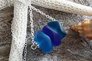 product image for Handmade in Hawaii,three blue sea glass necklace,gift box,beach glass necklace,sea glass jewelry, beach jewelry gift.