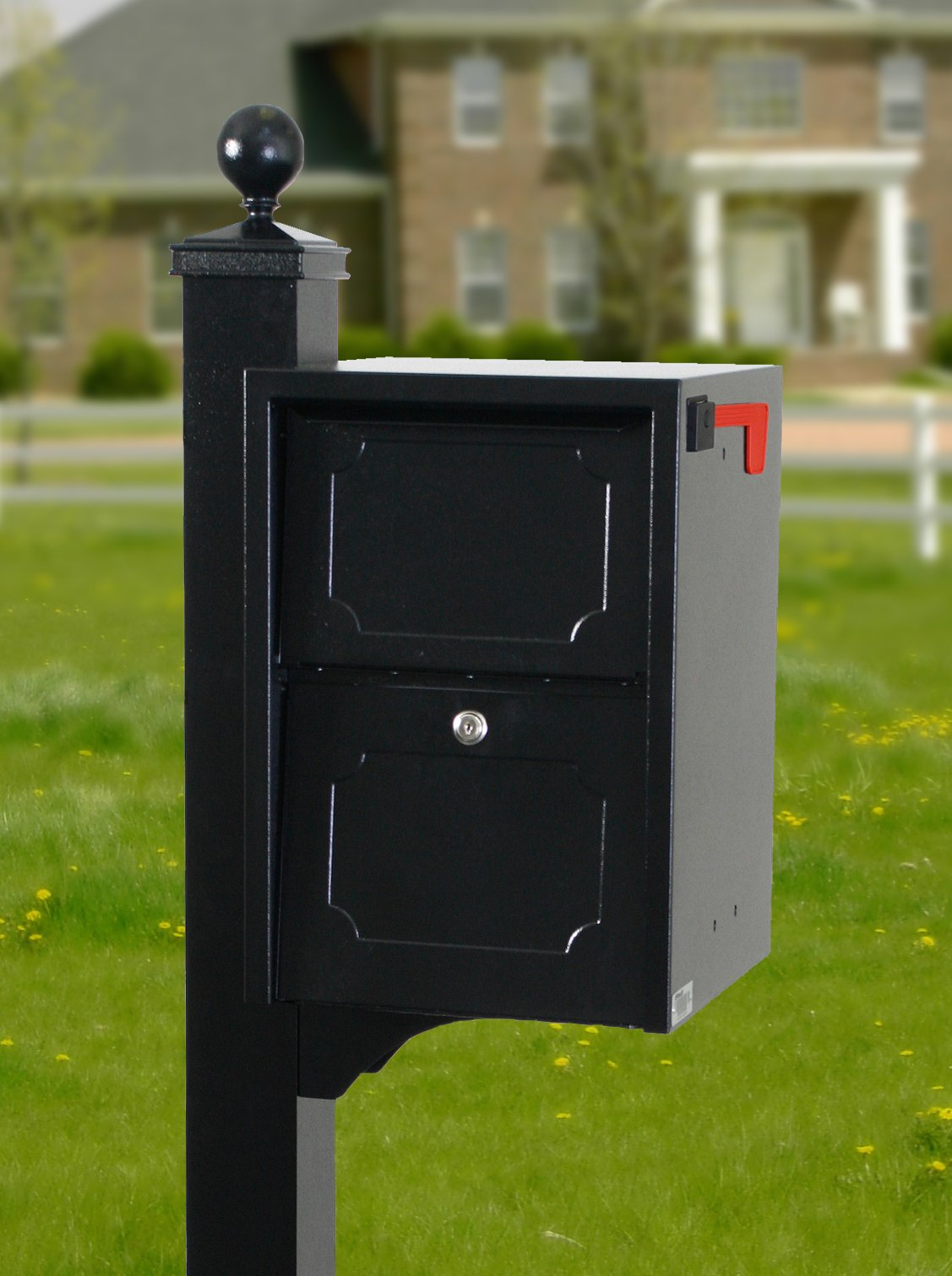 dVault® Weekend Away Vault DVJR0060 Locking Mailbox with Side Mount In Ground Post Included (Black) by dVault