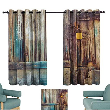Amazon.com: Rustic,Boy\'s Iving Room Curtain Aged Shed Door ...