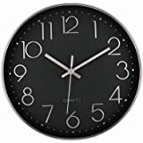 12 Inch Silver Wall Clock Silent Non-Ticking Decorative Battery Operated Quartz Round Wall Clock for Living Room Bedroom Home