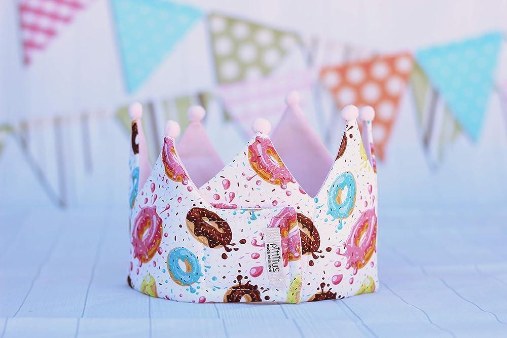 Corona cumpleaños niñas con de tela de algodón donuts ideal ...