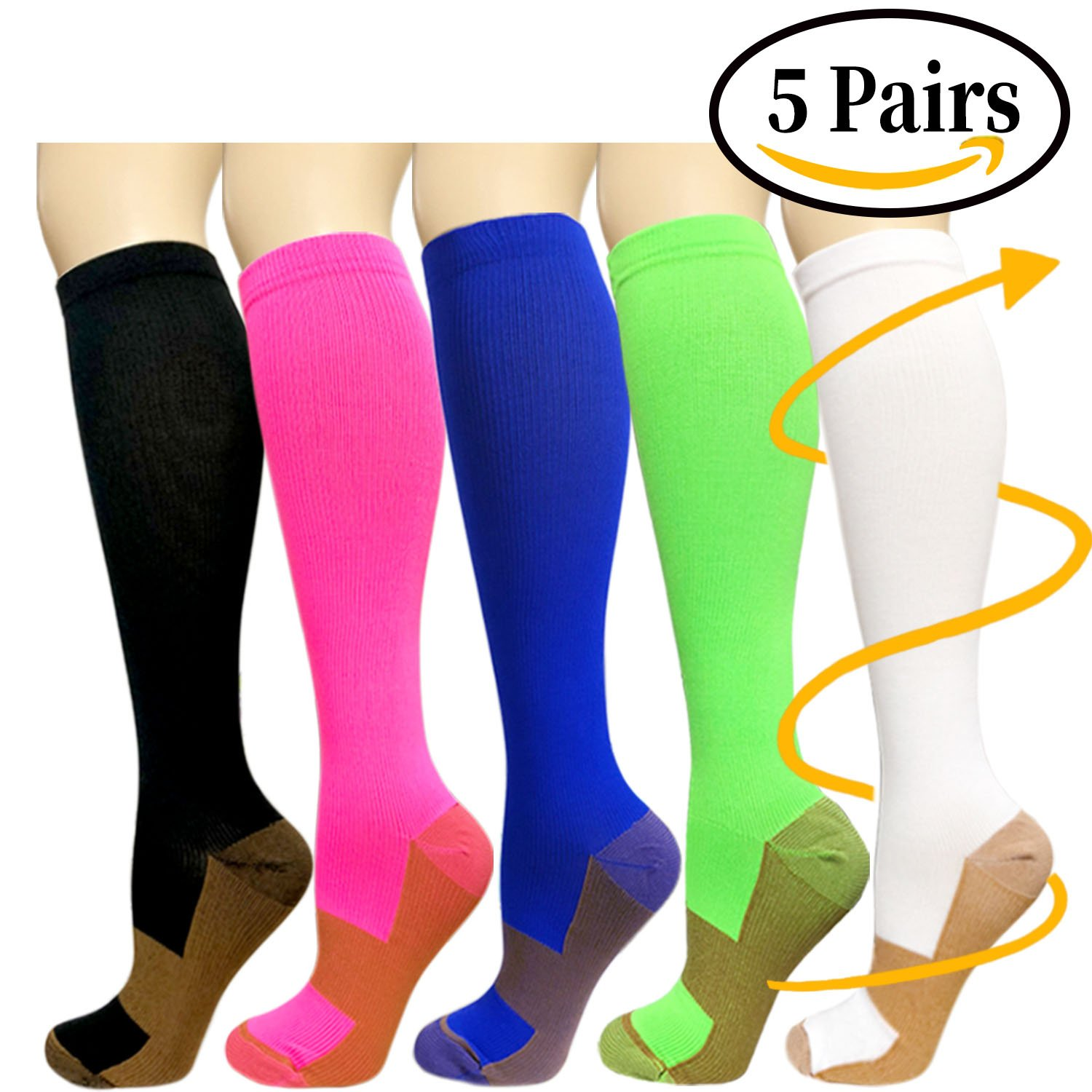Copper Compression Socks For Men & Women(5 Pairs)- Best For Running,Athletic,Medical,Pregnancy and Travel -15-20mmHg(Assort1,S/M)