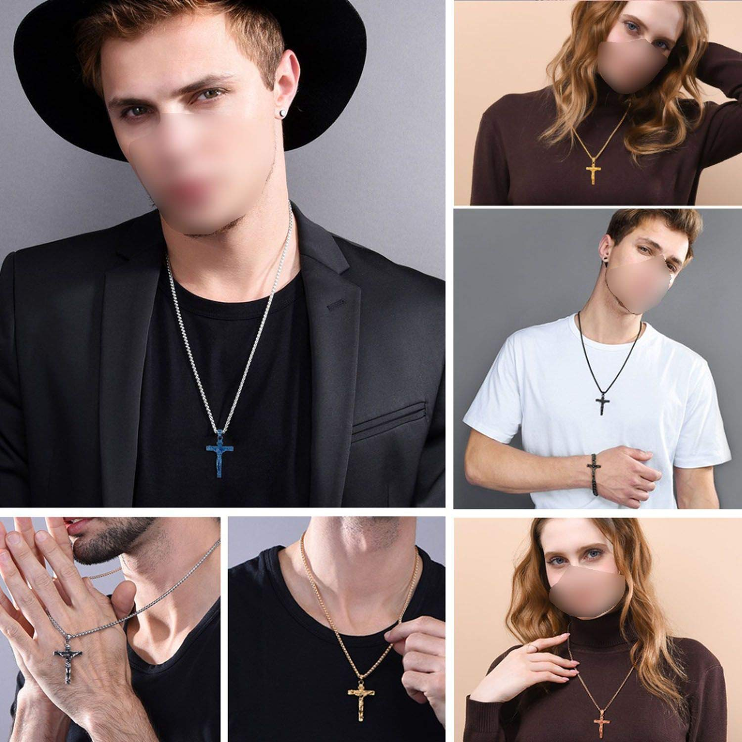 Stainless Steel Pendant /& Necklace for Men Catholic Religious Cross Gold Hip-Hop Jewelry Gifts,Stainless Steel