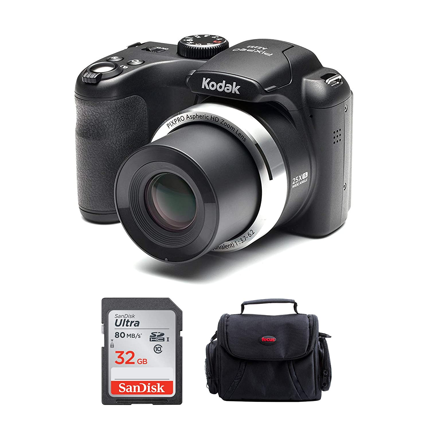 Kodak PIXPRO AZ252 Astro Zoom Digital Camera (Black) with 32GB SD Card and Case