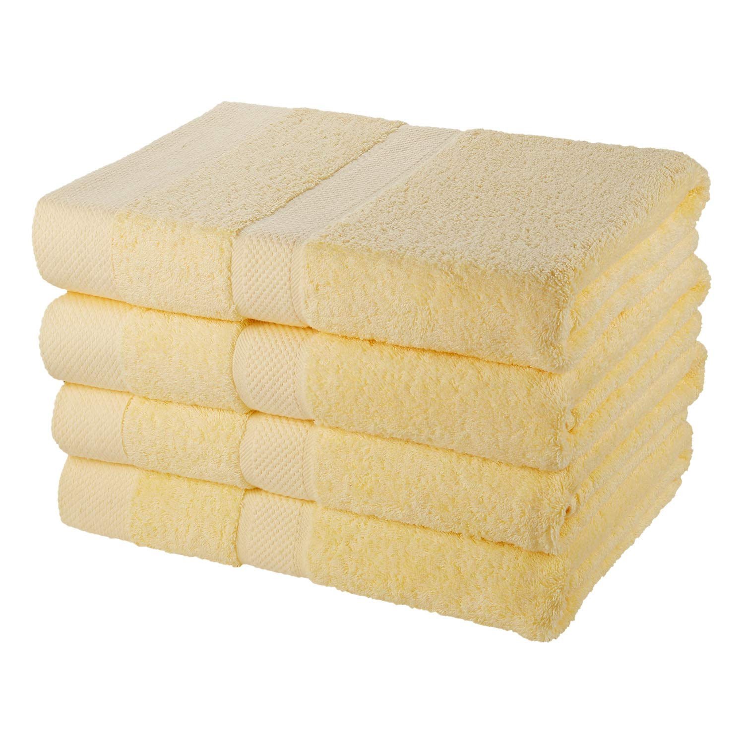 SEMAXE 4-Piece Bath Towel Set, 700GSM 30'' x 56'' 100% Cotton Hand Towels Super Absorbent Fade-Resistant (Yellow)