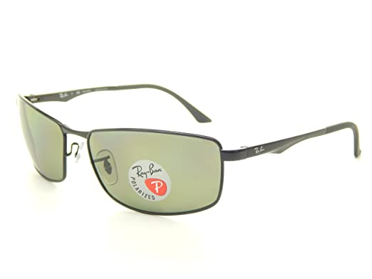 91117dd6f04 Image Unavailable. Image not available for. Color  New Ray Ban RB3498  002 9A Black Polarized Green 64mm Sunglasses