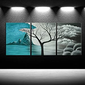 iKNOW FOTO 3pcs Grey and Teal Canvas Wall Art Abstract Cloud Tree Pictures Contemporary Landscape Giclee Artwork Painting Decorative Panels for Walls Bathroom Master Bedroom Decor 12x16inchx3pcs