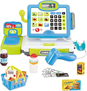FunLittleToy Cash Register for Kids with Electronic Sound, Mircophone, Scanner, Play Money and Play Food, Pretend Play Toys for Boys & Girls Gifts