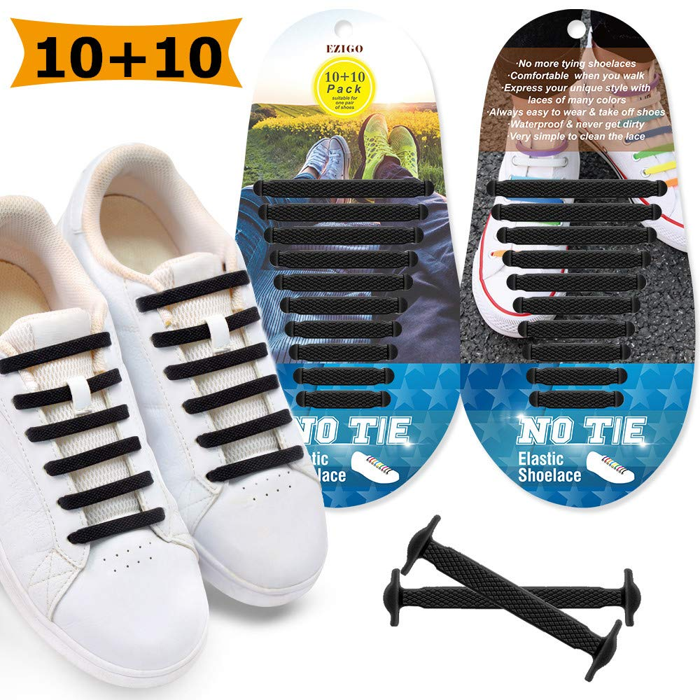 48773652d618 EZIGO Upgraded No Tie Shoelaces Widened Elastic Shoelaces for Adults Kids  Tieless Shoe Laces Waterproof Rubber Shoelaces for Sneakers Boots Board  Shoes ...