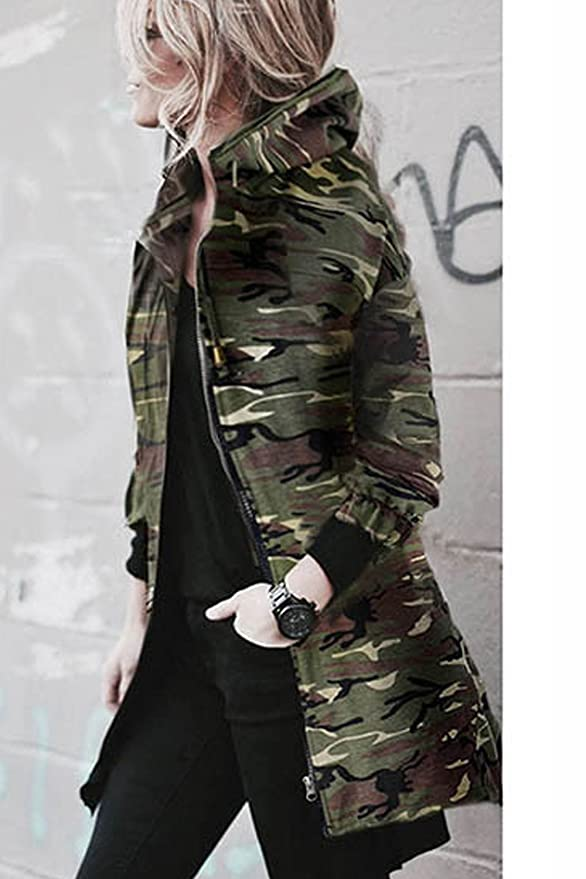 a5c4b217c5975 Vemubapis Women Zip Up Hooded Camouflage Jacket Longline Hoodie Coat:  Amazon.co.uk: Clothing