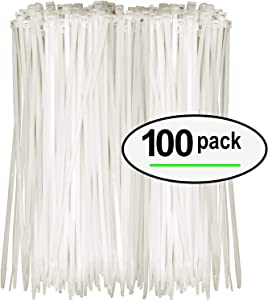Tarvol Nylon Zip Ties (Pack of 100) 8 Inch with Self Locking Cable Ties (White)