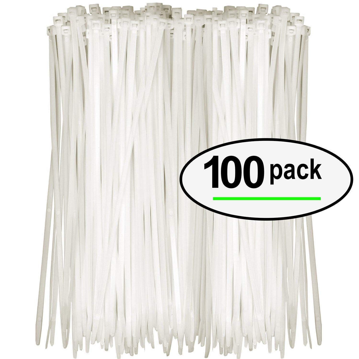 Tarvol Nylon Zip Ties (Pack of 100) 8 Inch with Self Locking Cable Ties (White) sd027