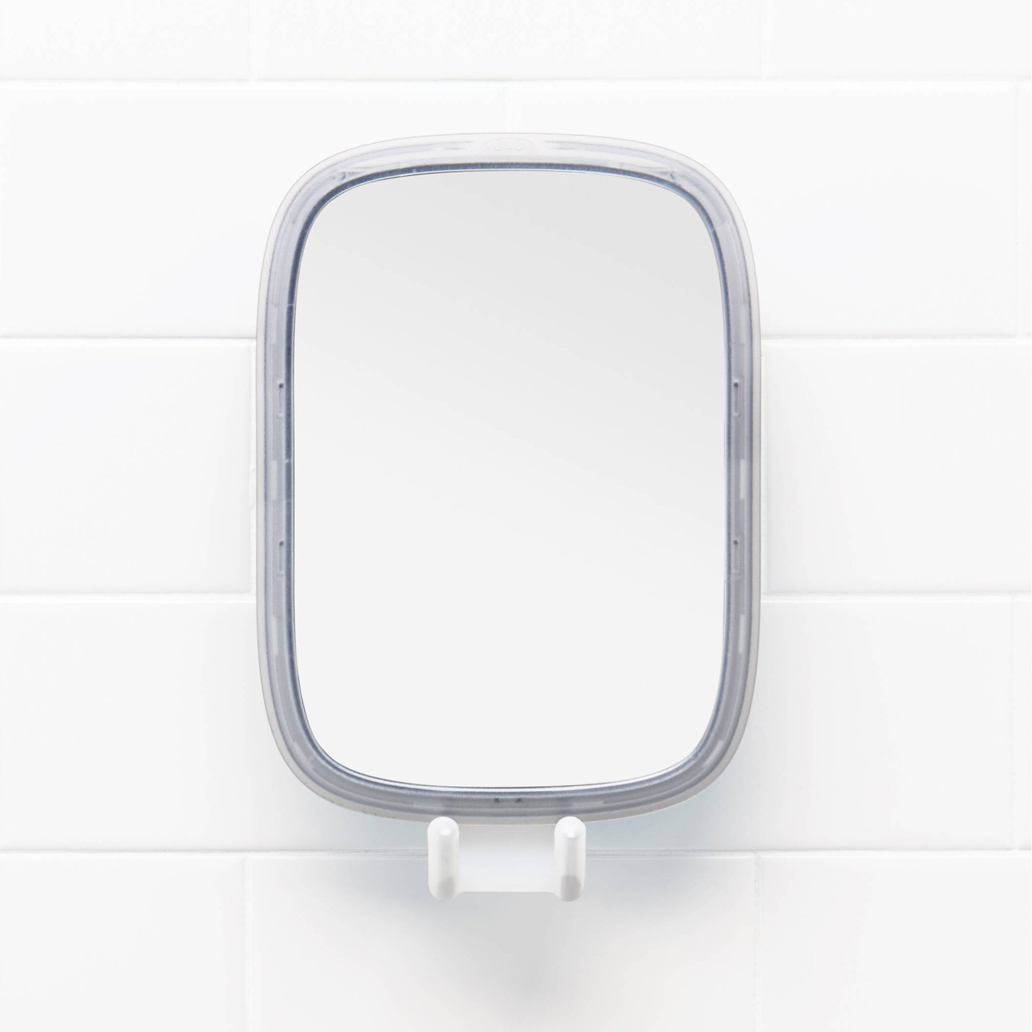 OXO Suction Fogless Mirror with Razor Holder and Tool-Free Adhesive Mount - White