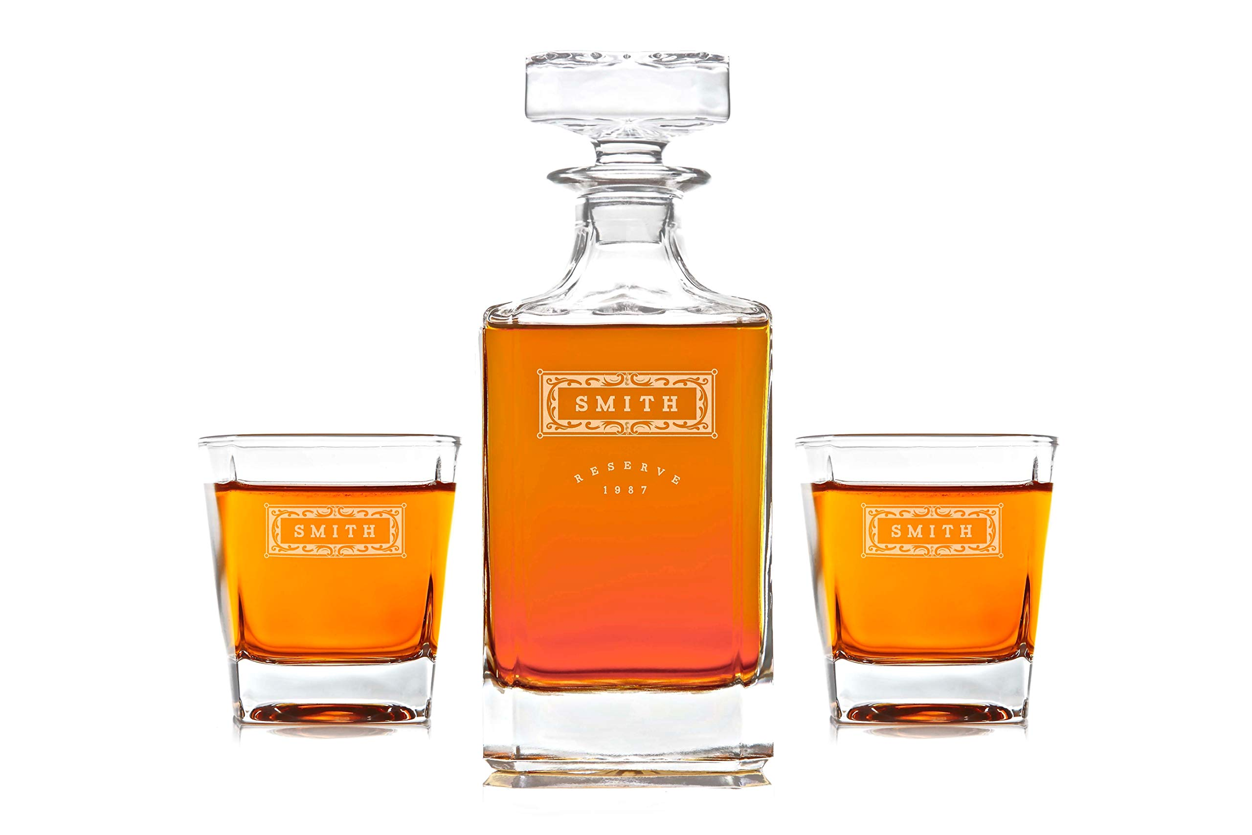 Personalized Whisky Decanter & Whiskey Glass Combo Lead Free : Classic Design
