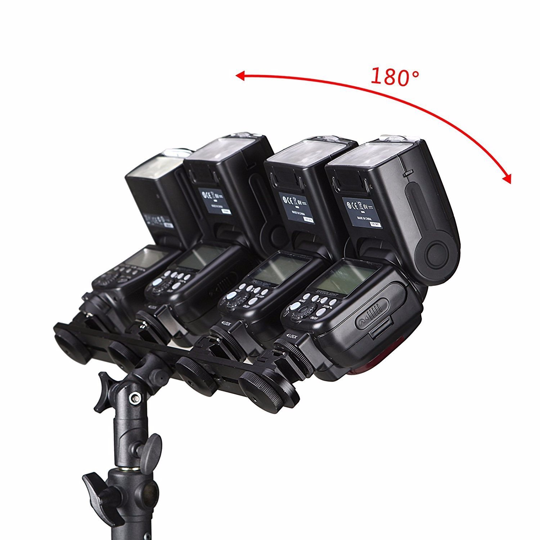 EXMAX E4 Aluminum Flash Swivel//Tilt Bracket 4 Four Hot Cold Shoe flash single dual triple mount head Umbrella Holder adapter Light Stand 1//4 to 3//8 for Studio Canon Nikon Speedlight